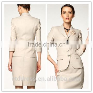 2014 Top Quality 100% wool Classic beige four button women office skirt suit                                                                         Quality Choice