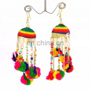 Pom pom jhumka earrings-Pom Pom Drop Earrings-Multicolor Chain pom pom earrings-BOHO Tribal Pom Pom Bell Earrings