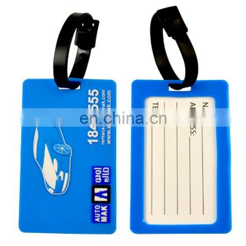 Customized design soft pvc luggage tag rubber loop