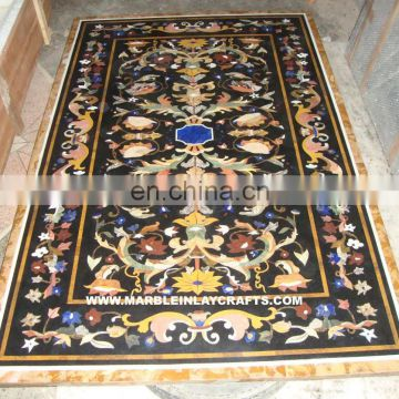 Black Marble Inlay Dining Table Top, Pietra Dura Marble Inlay Table Top