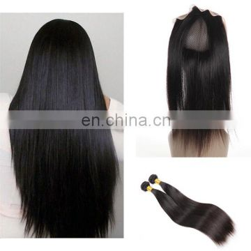 360 Frontal Closure with Baby hair Brazilian Virgin Hair straight lace frontal 360