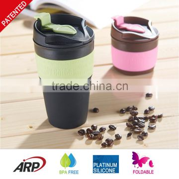 New Product 350ML / 12OZ Foldable, Collapsible, Heat Resistance, Silicone travel coffee Mug, BPA free, FDA, LFGB                                                                         Quality Choice