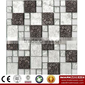 IMARK High Quality Silver Foil Mixed Crystal Glass Mixed Resin Flower Mosaic Tiles For Kitchen/Bath/Wall Decoration IXGR8-002
