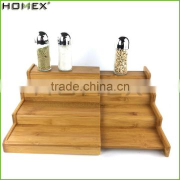 Bamboo Spice Rack 4 Step Shelf Organizer Homex BSCI/Factory