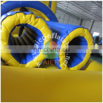 blue and yellow inflatable obstacle course/hot sale inflatable obstacle course