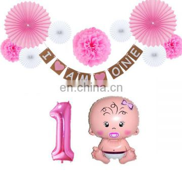 birthday party decorations 1st birthday number 1 baby girl foil balloons I am one birthday banner