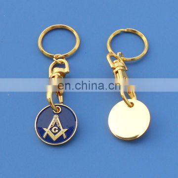 soft enamel freemason logo metal coin key holder keyring customized