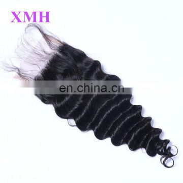 Free parting wholesale brazilian virgin human hair deep wave 4x4 lace closure