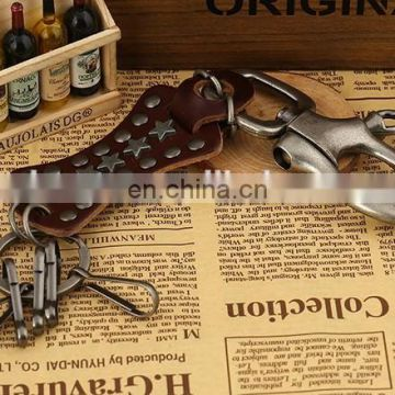 Latest high quality metal keychain genuine leather keychain wholesale