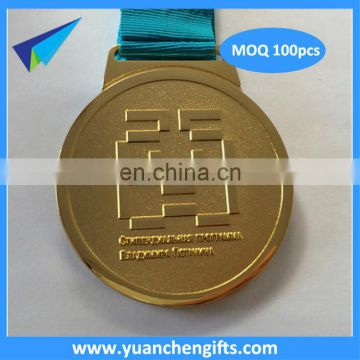 2016 New Design Nickel Plated Metal Cheap Custom Medals No Minimum Order