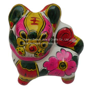 handcrafts clay sculpture Chinese Zodiac business gift  painted tiger birthday gift