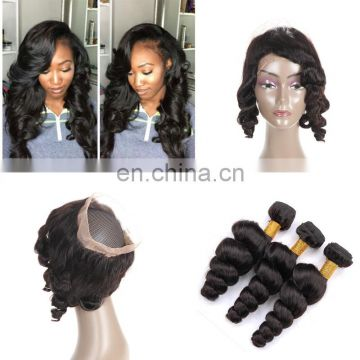 360 lace frontal closure with bundles brazilian hair lace frontal with 360 lace band