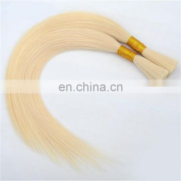 Top quality blonde human hair bulk remy virgin brazilian hair color #60 silk straight hair bulk