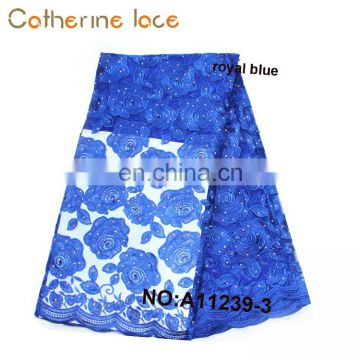 Catherine Export Products List Latest Royal Blue Embroidered French Lace