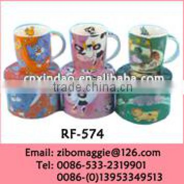 9oz Ceramic White Promotional Mug with Cartoon Design for Travel Water Mug