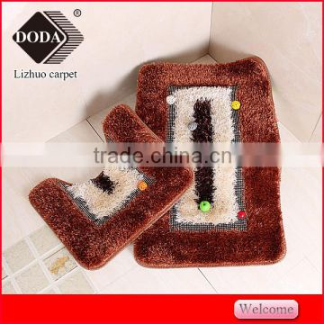 long hair soft shaggy silk rug bathroom set rectangular/contour mat