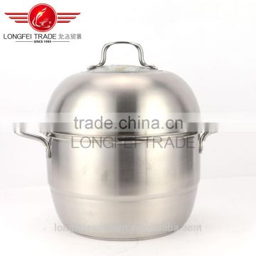 2016 good quality natural color cookware set stainless steel steam cooking pot