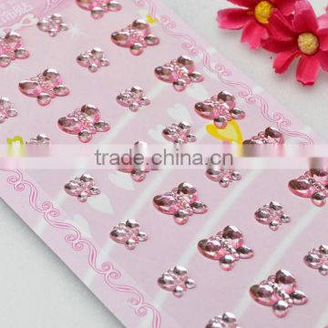 self-adhesive diamante craft gem stickers pink acrylic butterfly sheet design for card making