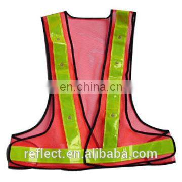hi visibility safety vest with flashing led light safety vest