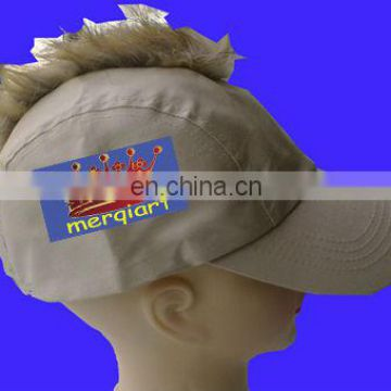Brown rally wig On Headband rally hawk cap