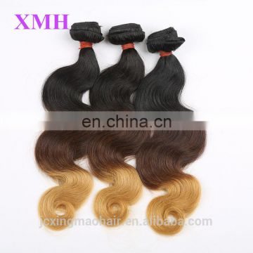 china supplier body wave brazilian human hair extension ombre color sew in human hair weave
