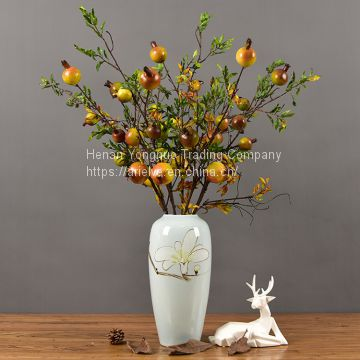 Wholesale Real Touch Berries 5 Heads Artificial Pomegranate Fruit With Branches