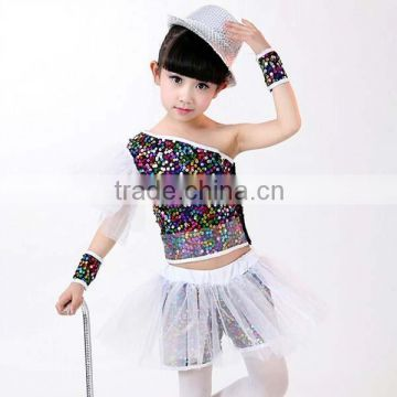 2016 Wholesale colorful Kids Girls Jazz Dance performance Costume fashion sequined Children Performance ballroom dancing dresses