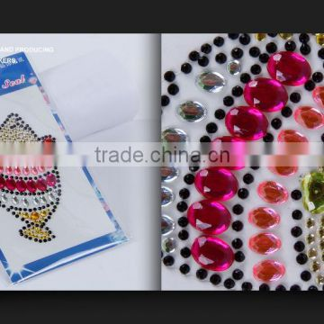 Free Sample Self Adhesive Diamond Rhinestone Decorative Sticker Gems Crystals Sticker