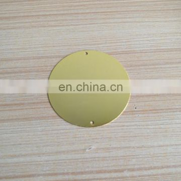 custom logo gold plated brass metal round plates