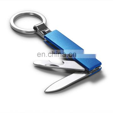 multi function metal Keyring With knife and bottle opener