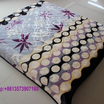 Double ply embossed design polyester mink blanket winter warm blanket