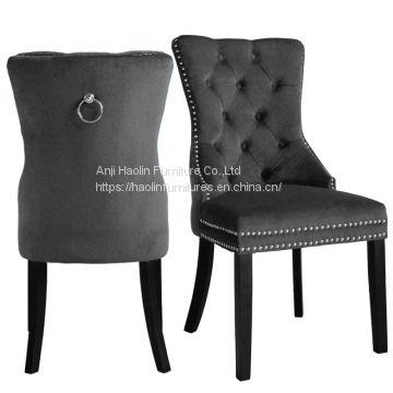 Sensational Dark Grey Velvet Dining Chair In Solid Wood With Buttons Gamerscity Chair Design For Home Gamerscityorg