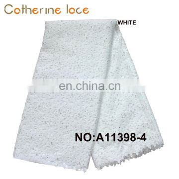 Catherine Wholesale Direct From China African Laser Cut Lace Fabric With Beaded