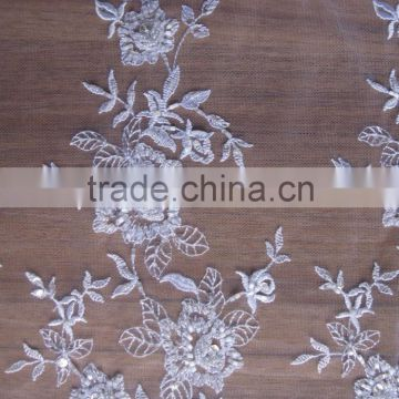 crystal tulle fabric/ivory beaded lace fabric/wholesale lace fabric/guangzhou african lace embroidery fabric/bridal fabric dress