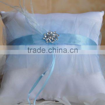 2016 White And Sky Blue Bridal Wedding Ceremony Ring Bearer Pillow