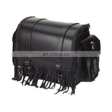 HMB-5073A LEATHER MOTORCYCLE SISSY BAR BAG PLAIN FRINGES POCKETS STYLE
