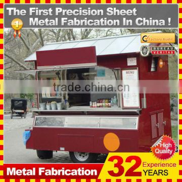 customized made stainless steel street food kiosk cart for sale