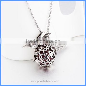 Metal Hollowed-out Pattern Cage Chime Box Angel Wing Pregnancy Maternity Pendant Necklace With Musical Sound Bell Ball BAC-M055