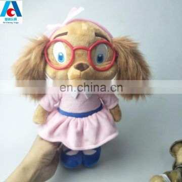 Cuddy plush dog toys with dress movie cartoon plush toys with plastic glasses
