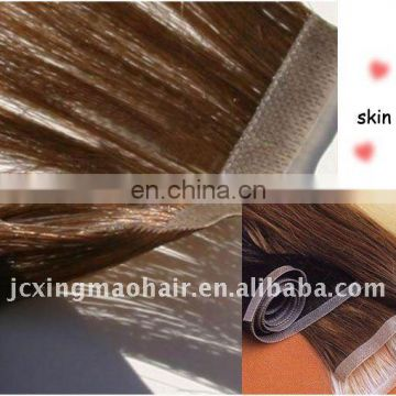 Best quality double side tape hair Indian remy glue hair extensions,hair extension making machine made skin weft made in china