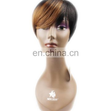 Cheap Short Old Fashion ombre colored T1b-30 100% Indian Women Human Hair WigS