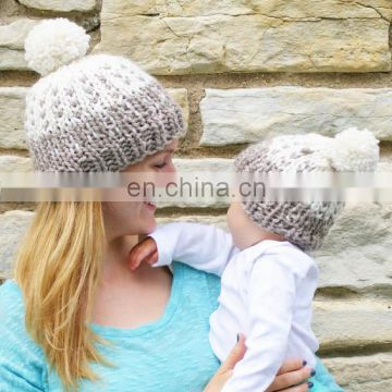 mommy baby children autumn and winter cotton knitted hats warm funky kids hat parenting cap with top ball