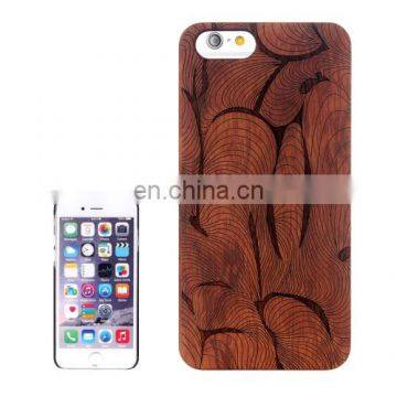 Abstract Carved Pattern & Rosewood Patch Protective Case for iPhone 6 Plus