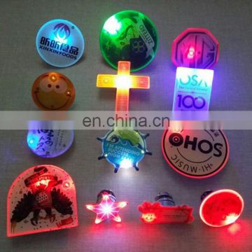 best sell promotion gift customized any shape name any size button or pin led flashing advertising badge