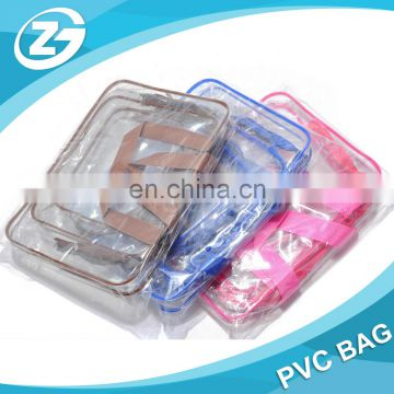 Cheap Promotional Zipper Top Clear Mini PVC Cosmetic Handle Bag