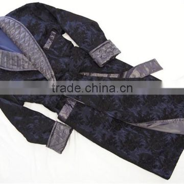 Wholesale Warm Winter Men's Floral Navy Silk Bathrobe With Quilted Gray Shawl Collar