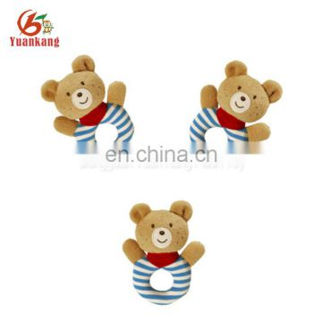 soft animal shape plush hand bell rattle toys for baby