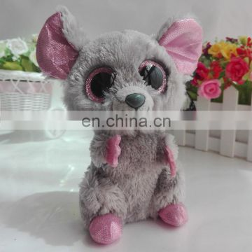 TY branded furry big eyed plush mouse china factory plush toys