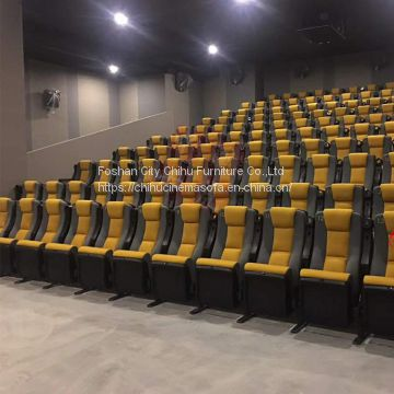 Foshan factory offer high quality rocking&folding leather cinema chair with moving cupholder