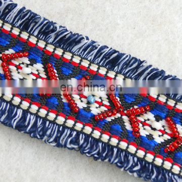 Top hot style custom ethnic Jacquard ribbon with beads trim tape for garments